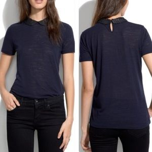 Madewell Embellished Collar Tee Blue Womens Small
